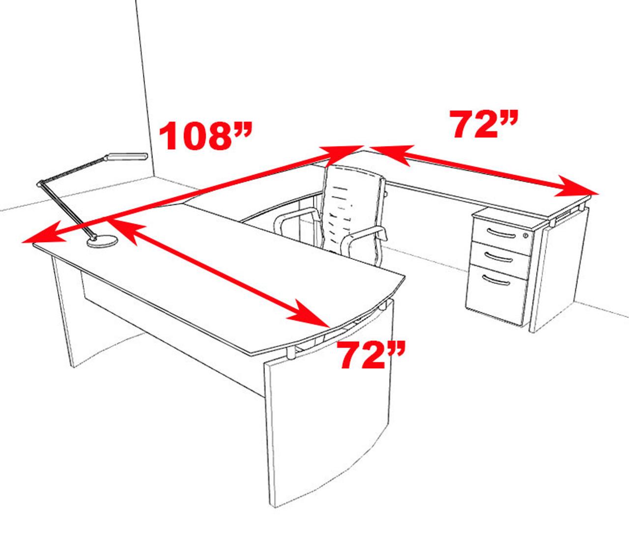 4pc Modern Contemporary U Shape Executive Office Desk Set, #RO-NAP-U1