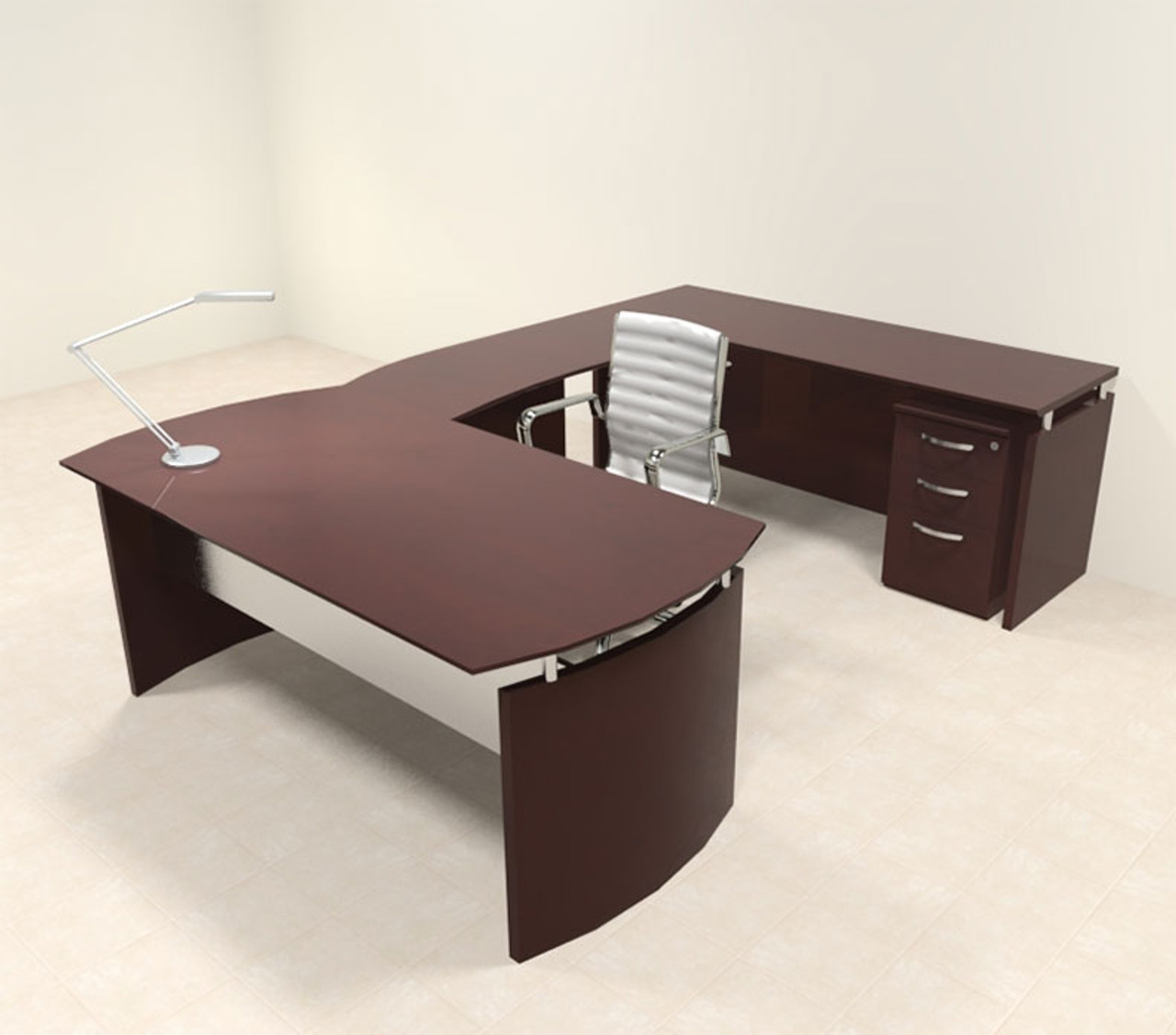 4pc Modern Contemporary U Shape Executive Office Desk Set, #RO-NAP-U3