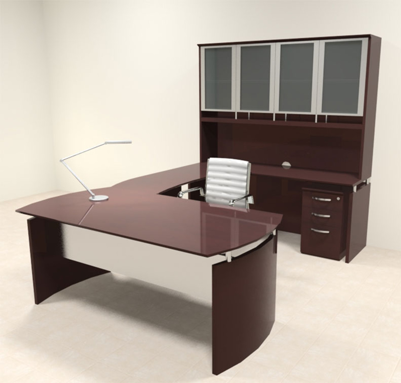 5pc Modern Contemporary U Shape Executive Office Desk Set, #RO-NAP-U6