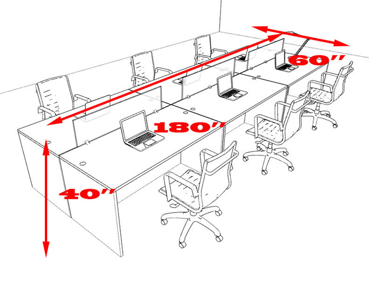 Six Person Modern Divider Office Workstation Desk Set, #OT-SUL-FP11