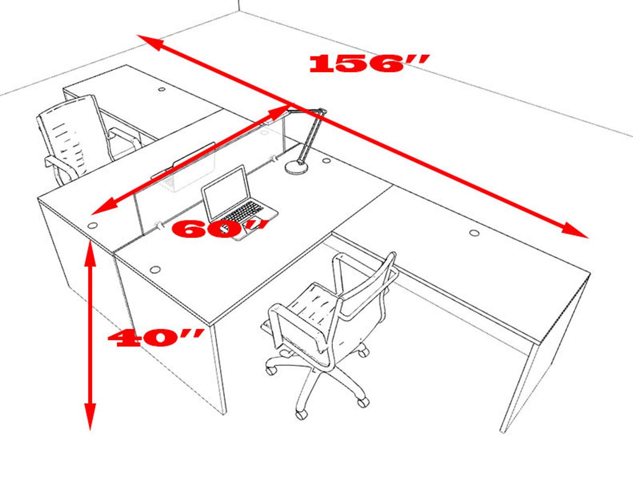 Two Person L Shaped Divider Office Workstation Desk Set, #OT-SUL-FP25