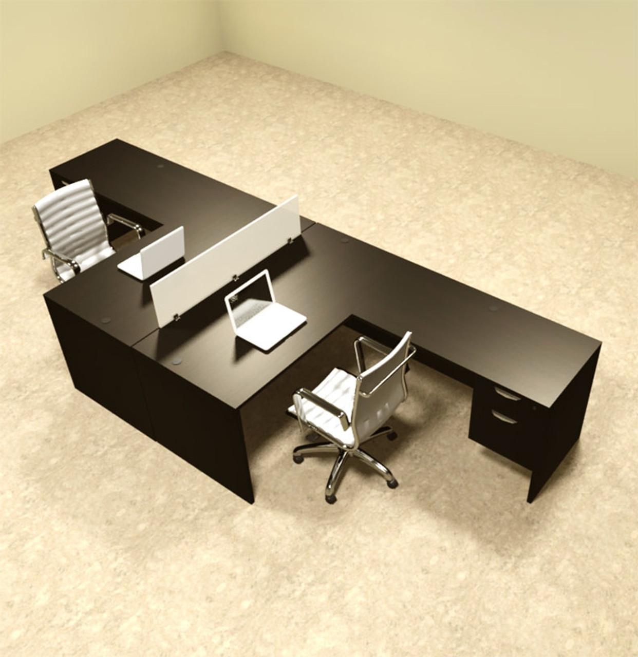Two Person L Shaped Divider Office Workstation Desk Set