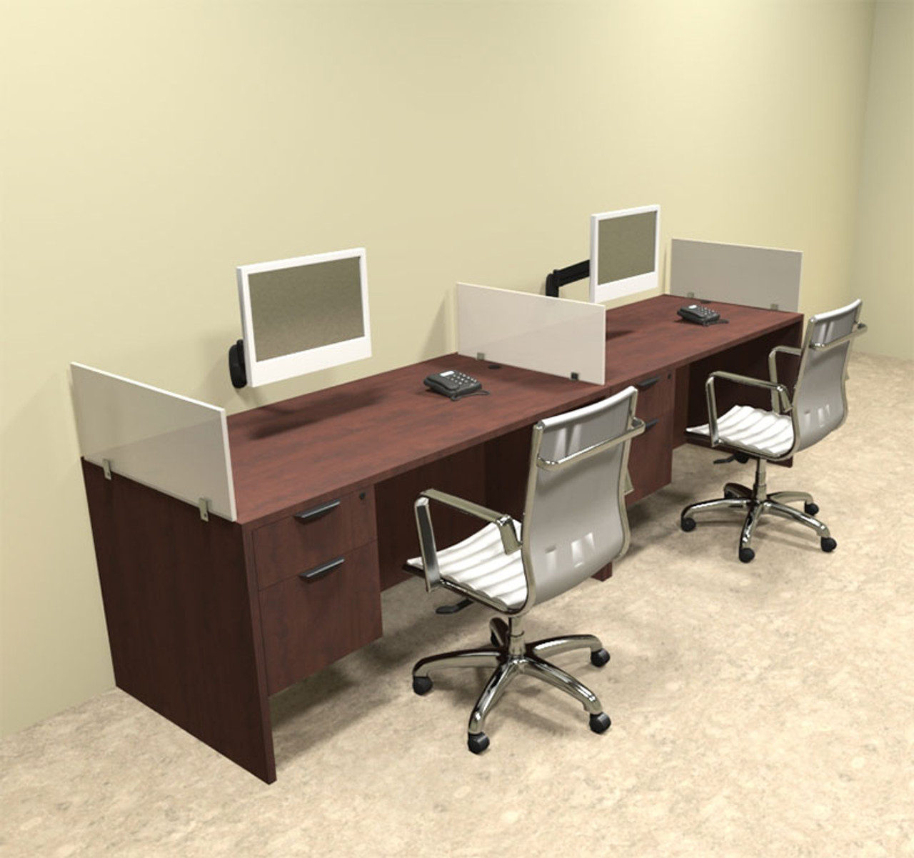 Two Person Divider Modern Office Workstation Desk Set, #OT-SUL-SP22