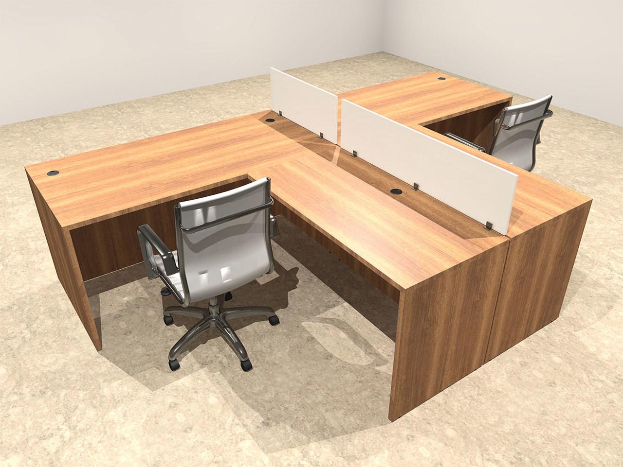 Two Person L Shaped Divider Office Workstation Desk Set, #OT-SUL-SP41