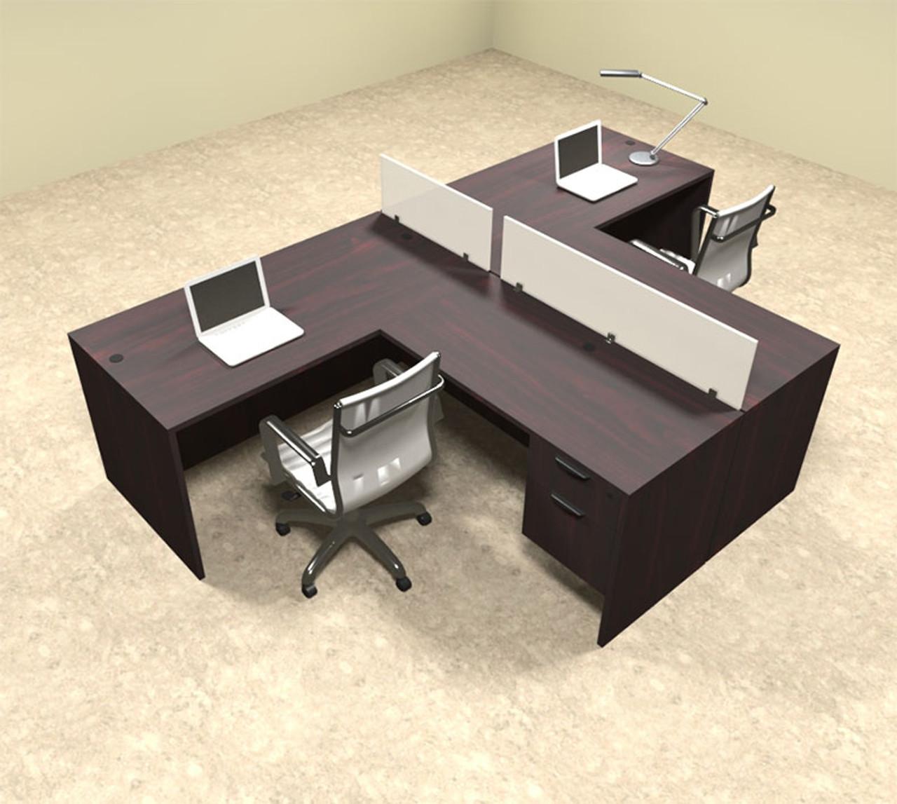 Two Person L Shaped Divider Office Workstation Desk Set, #OT-SUL-SP55