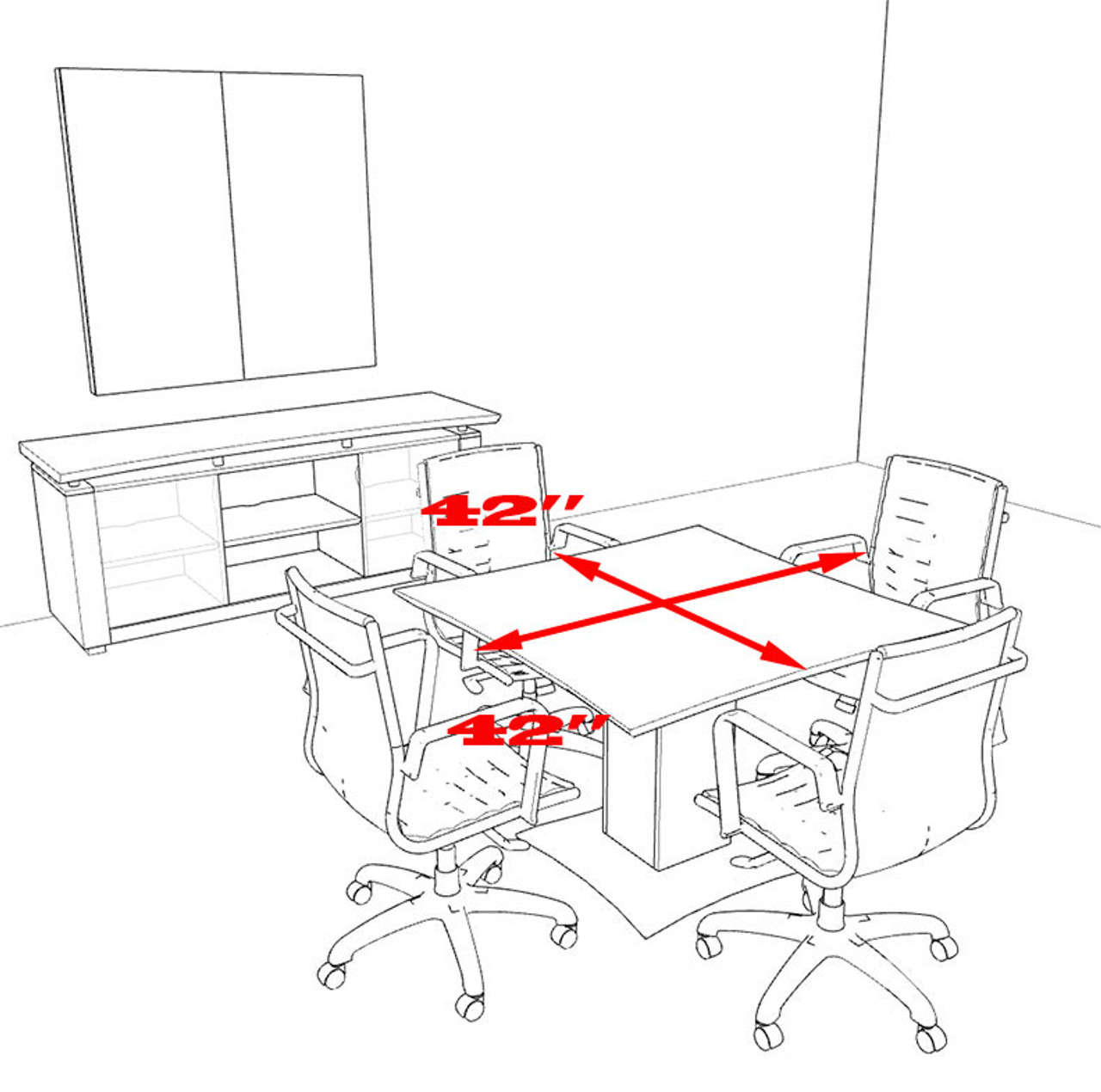 """Modern Contemporary 42"""" Square Conference Table, #MT-STE-C1"""