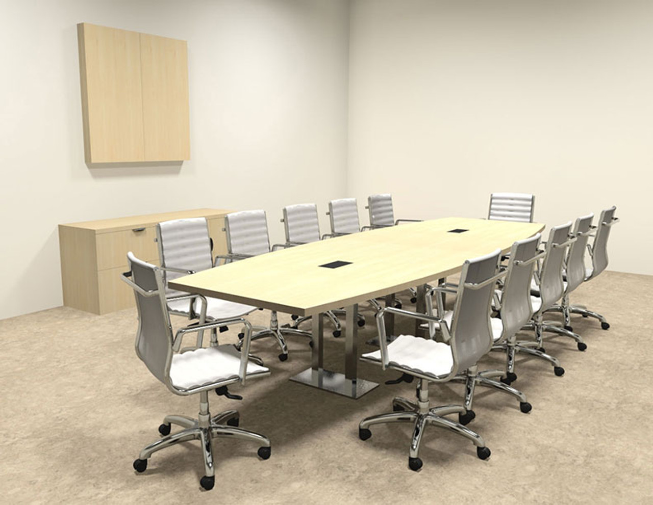 Modern Boat Shaped Steel Leg Feet Conference Table OFCONCM - 12 foot conference table