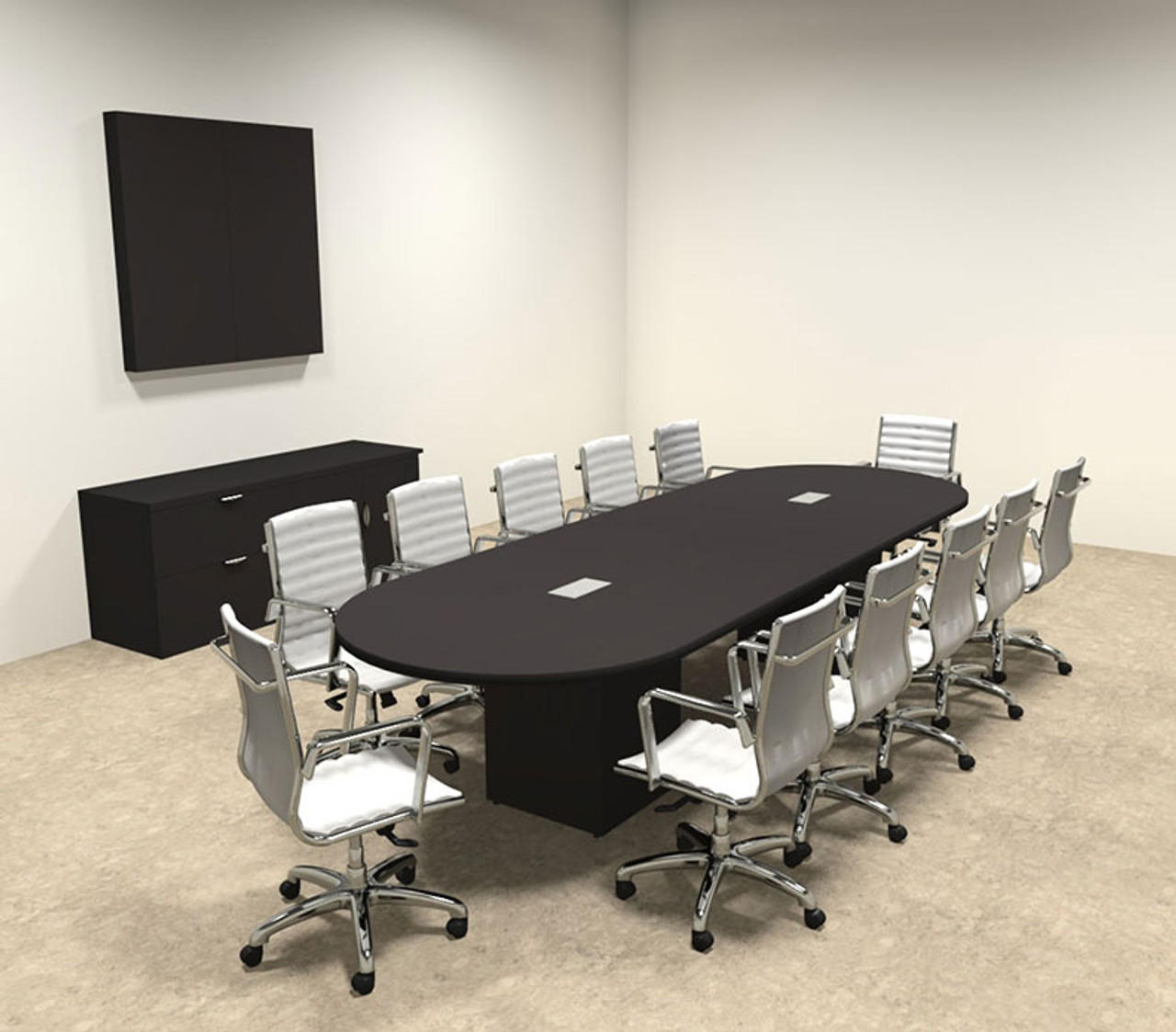 Modern Racetrack Cube Leg Feet Conference Table OFCONCQ - 12 foot conference room table