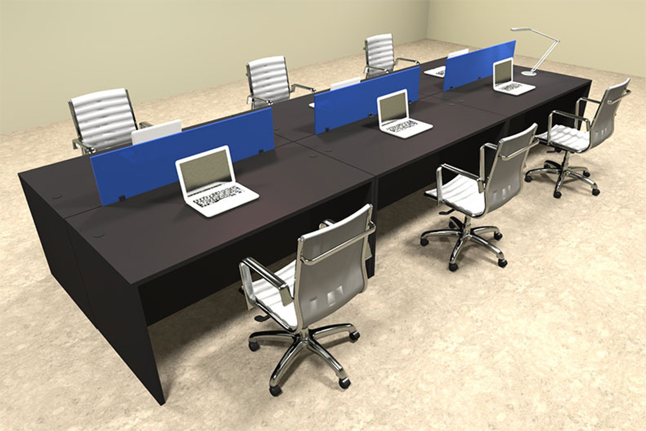 Six Person Modern Blue Divider Office Workstation Desk Set, #OT-SUL-FPB12