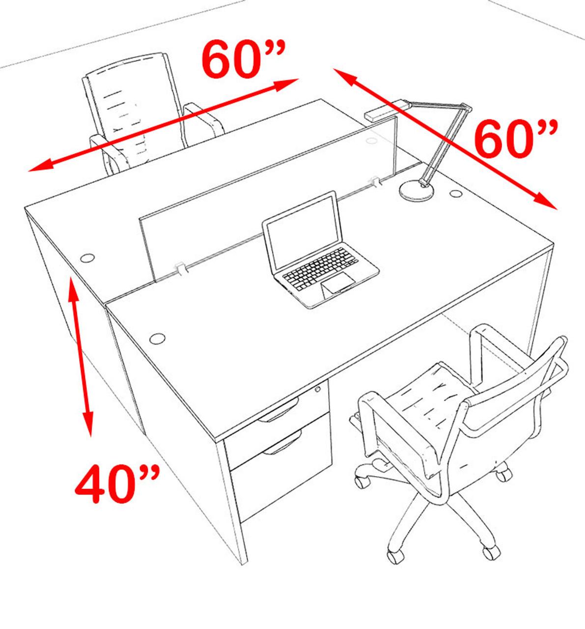 Two Person Modern Blue Divider Office Workstation Desk Set, #OT-SUL-FPB15