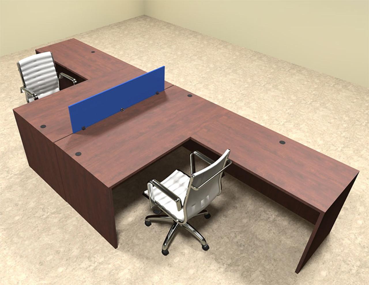 Two Person Blue Divider Office Workstation Desk Set, #OT-SUL-FPB26
