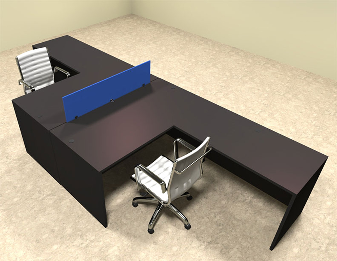 Two Person Blue Divider Office Workstation Desk Set, #OT-SUL-FPB28
