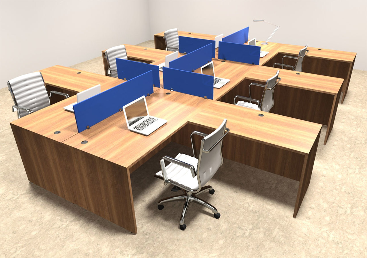 Six Person Blue Divider Office Workstation Desk Set, #OT-SUL-FPB33