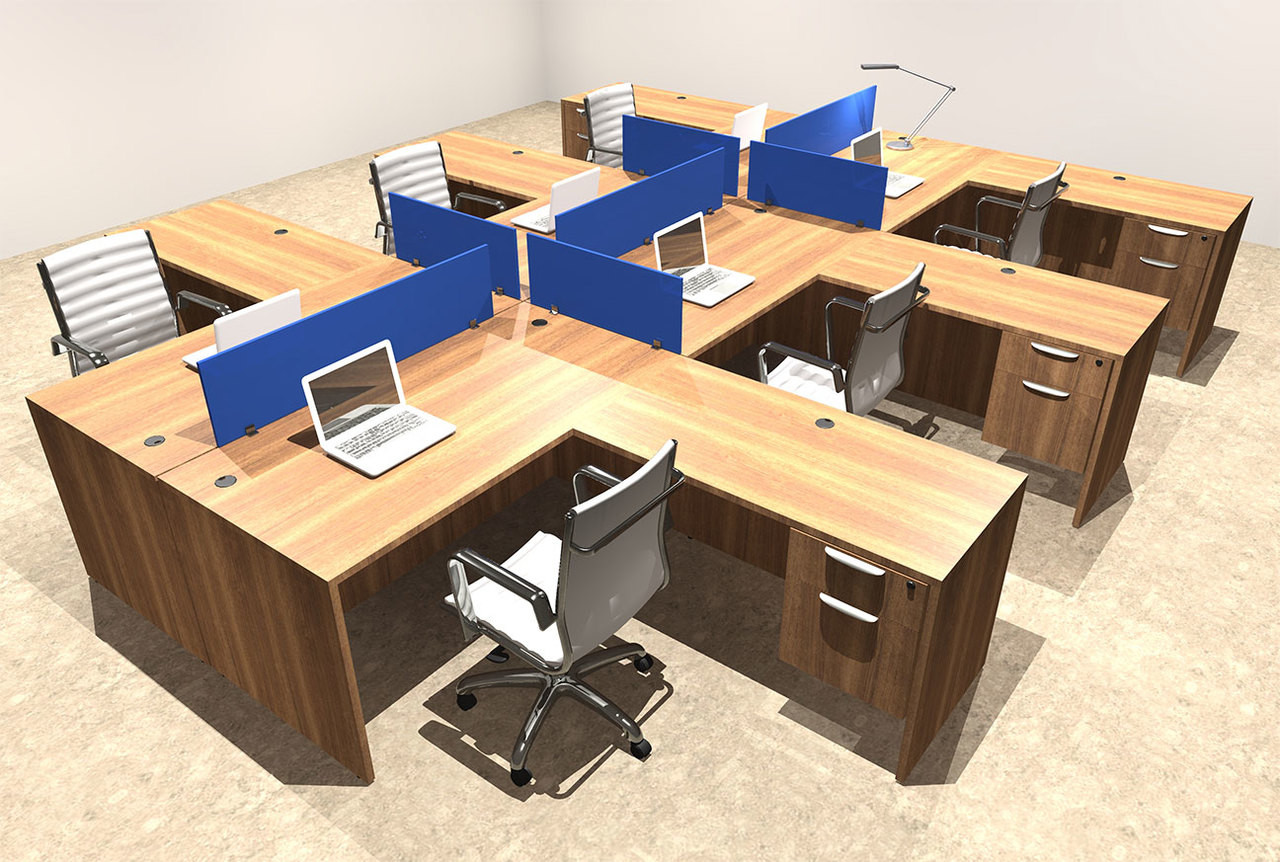 Six Person Blue Divider Office Workstation Desk Set, #OT-SUL-FPB45