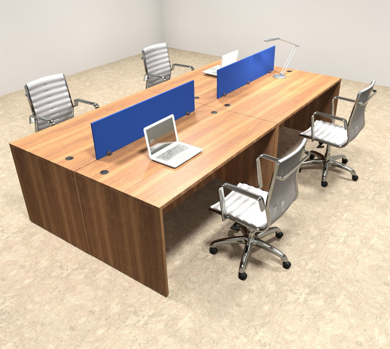 Office Table For 4 Person: Four Person Modern Blue Divider Office Workstation Desk