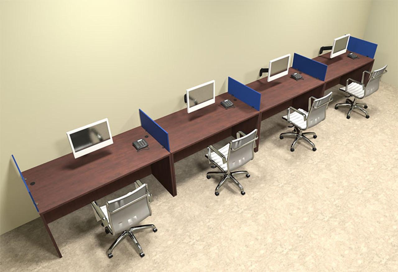 Four Person Blue Divider Office Workstation Desk Set, #OT-SUL-SPB10