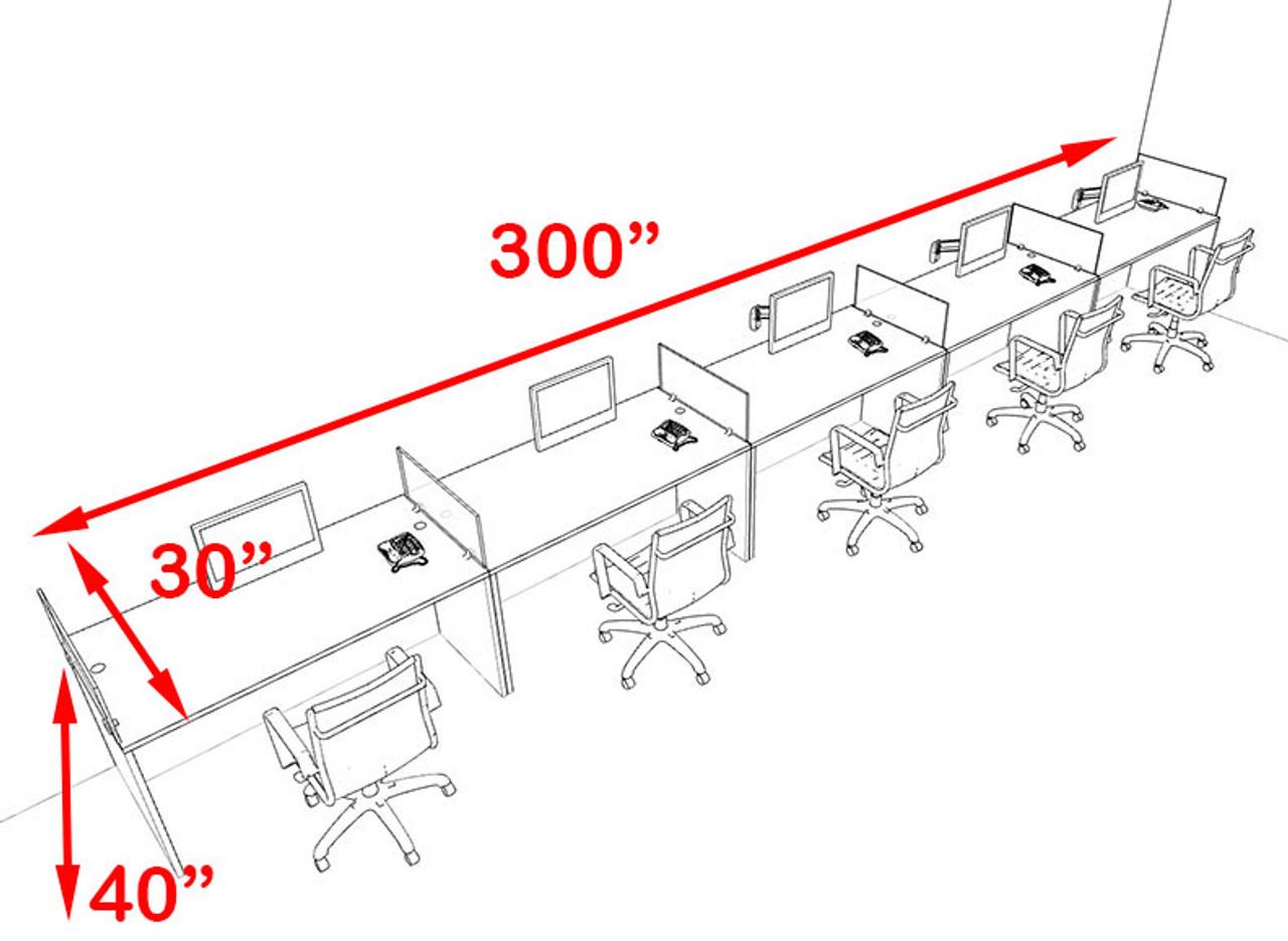 Five Person Blue Divider Office Workstation Desk Set, #OT-SUL-SPB13