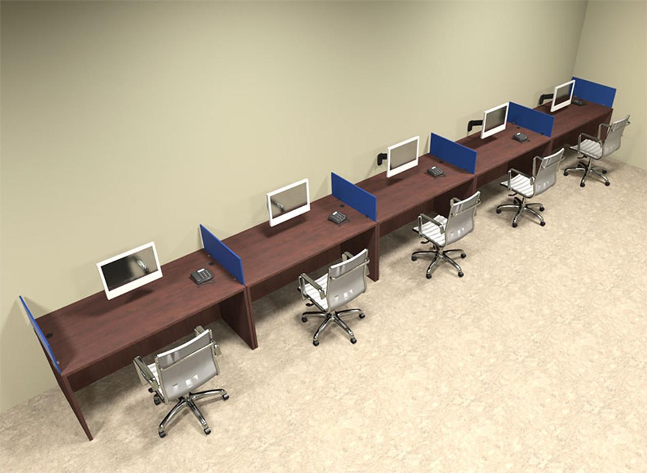 Five Person Blue Divider Office Workstation Desk Set, #OT-SUL-SPB14