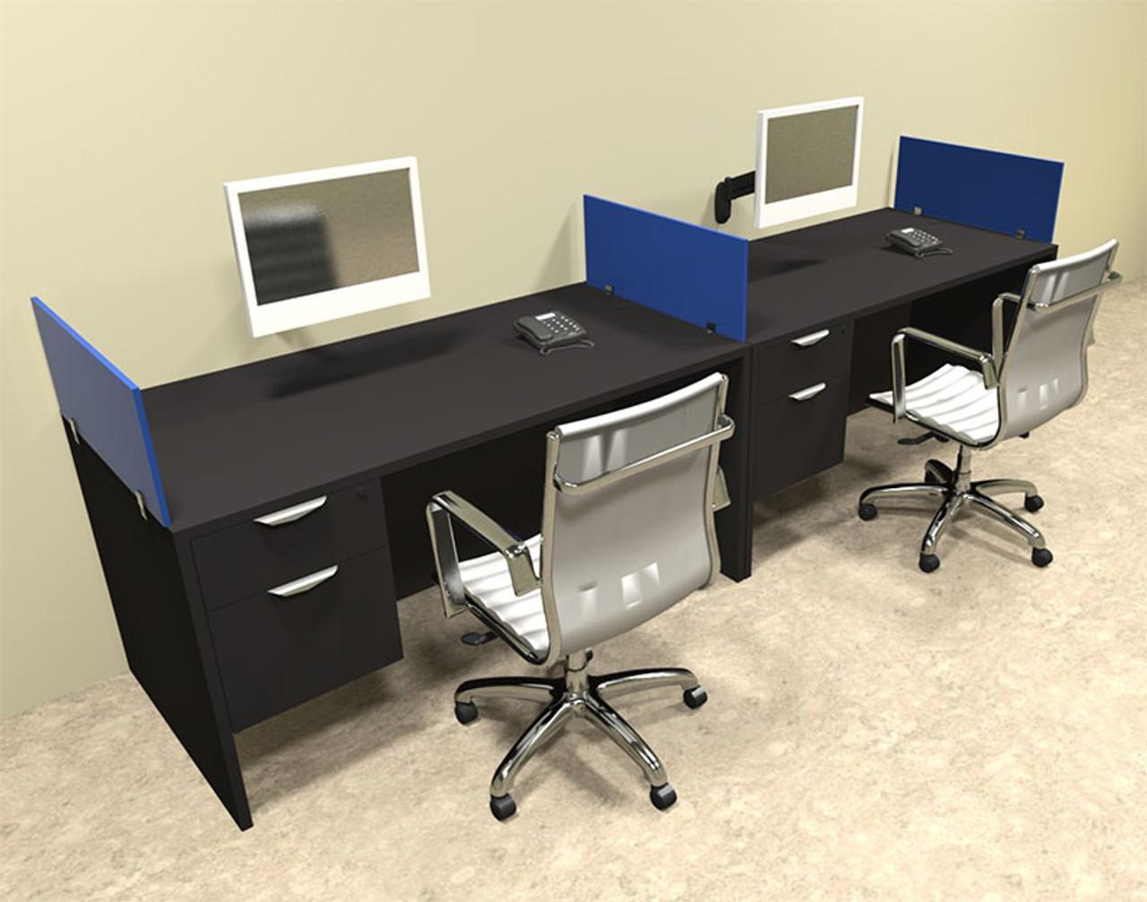 Two Person Blue Divider Office Workstation Desk Set, #OT-SUL-SPB24