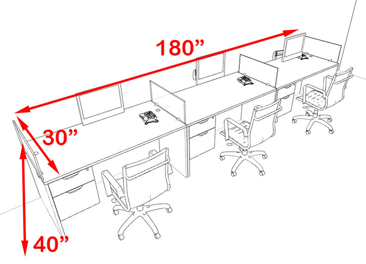 Three Person Blue Divider Office Workstation Desk Set, #OT-SUL-SPB25