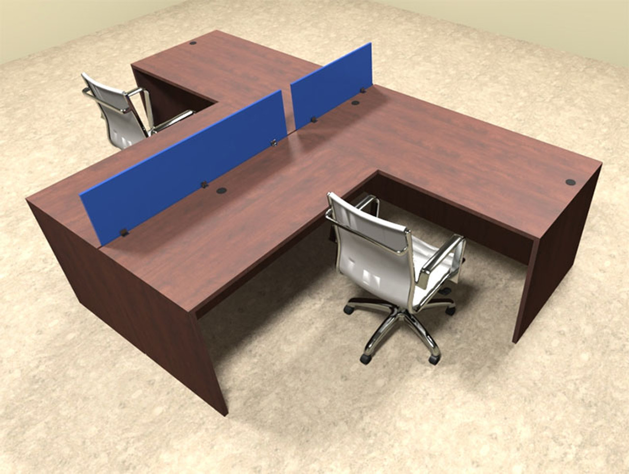 Two Person Blue Divider Office Workstation Desk Set, #OT-SUL-SPB42