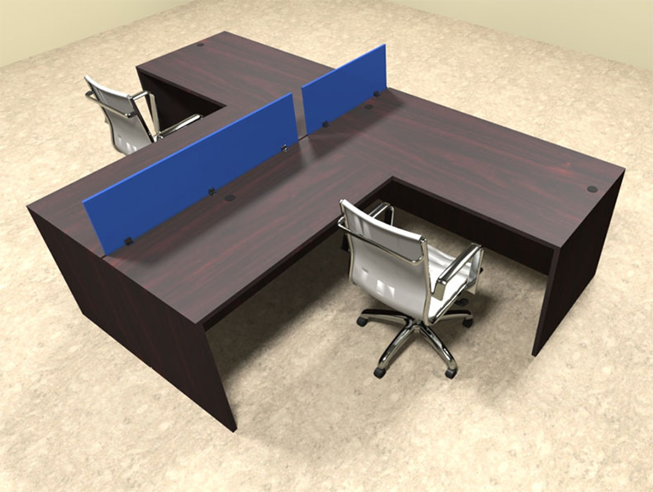 Two Person Blue Divider Office Workstation Desk Set, #OT-SUL-SPB43