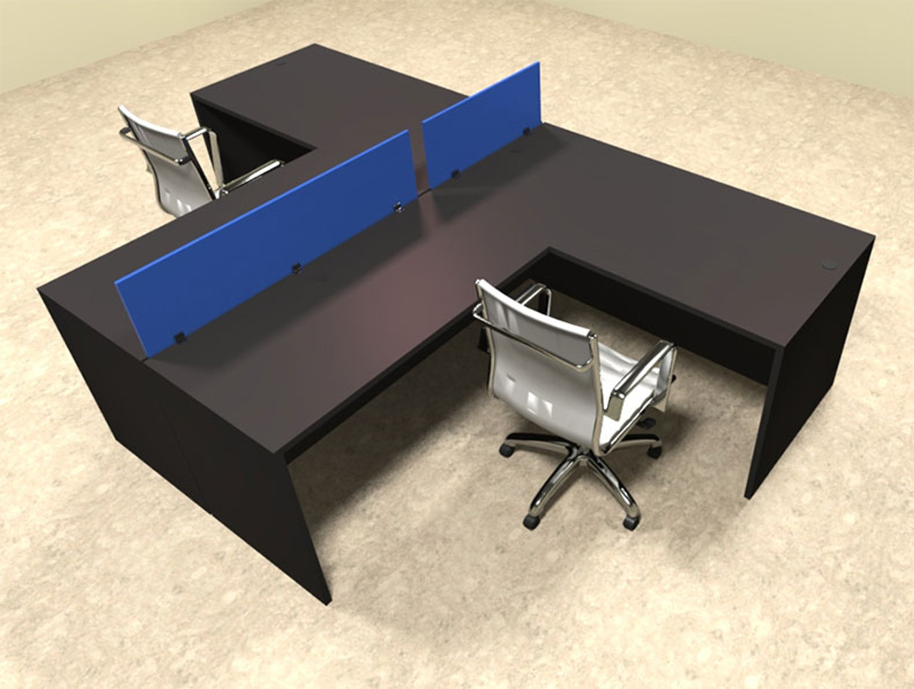 Two Person Blue Divider Office Workstation Desk Set, #OT-SUL-SPB44