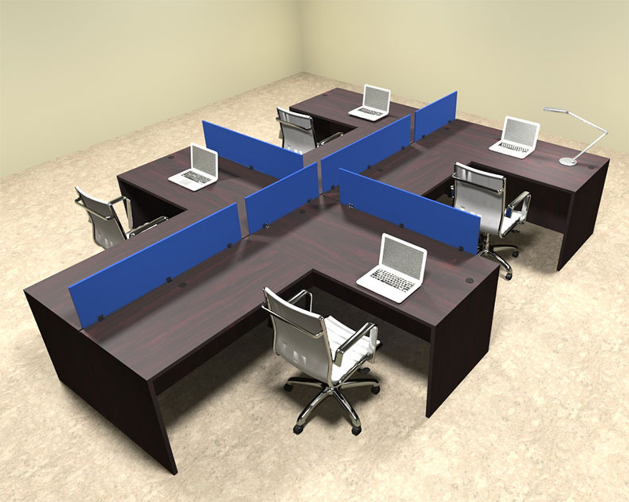 Four Person Blue Divider Office Workstation Desk Set, #OT-SUL-SPB47