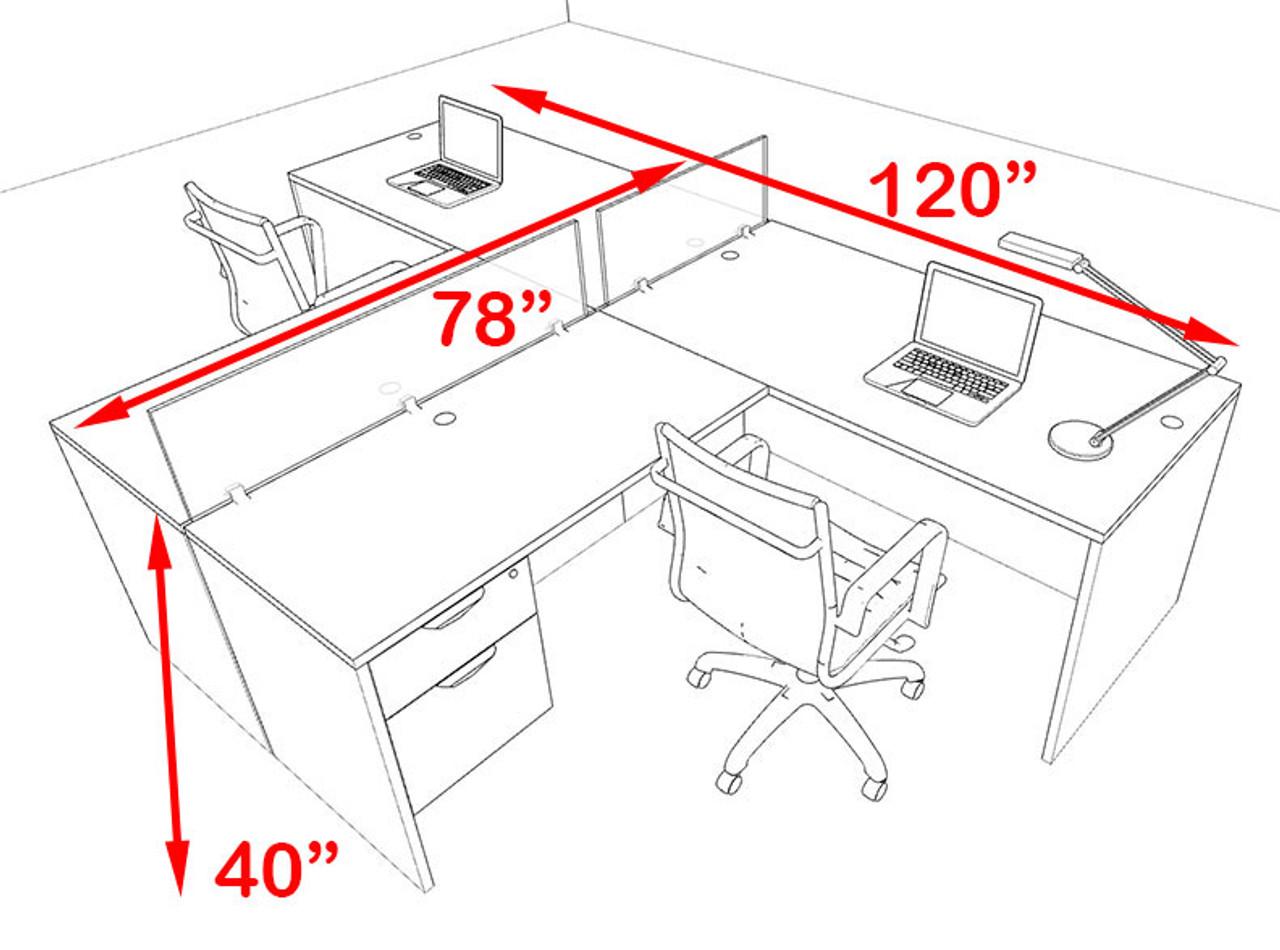 Two Person Blue Divider Office Workstation Desk Set, #OT-SUL-SPB56