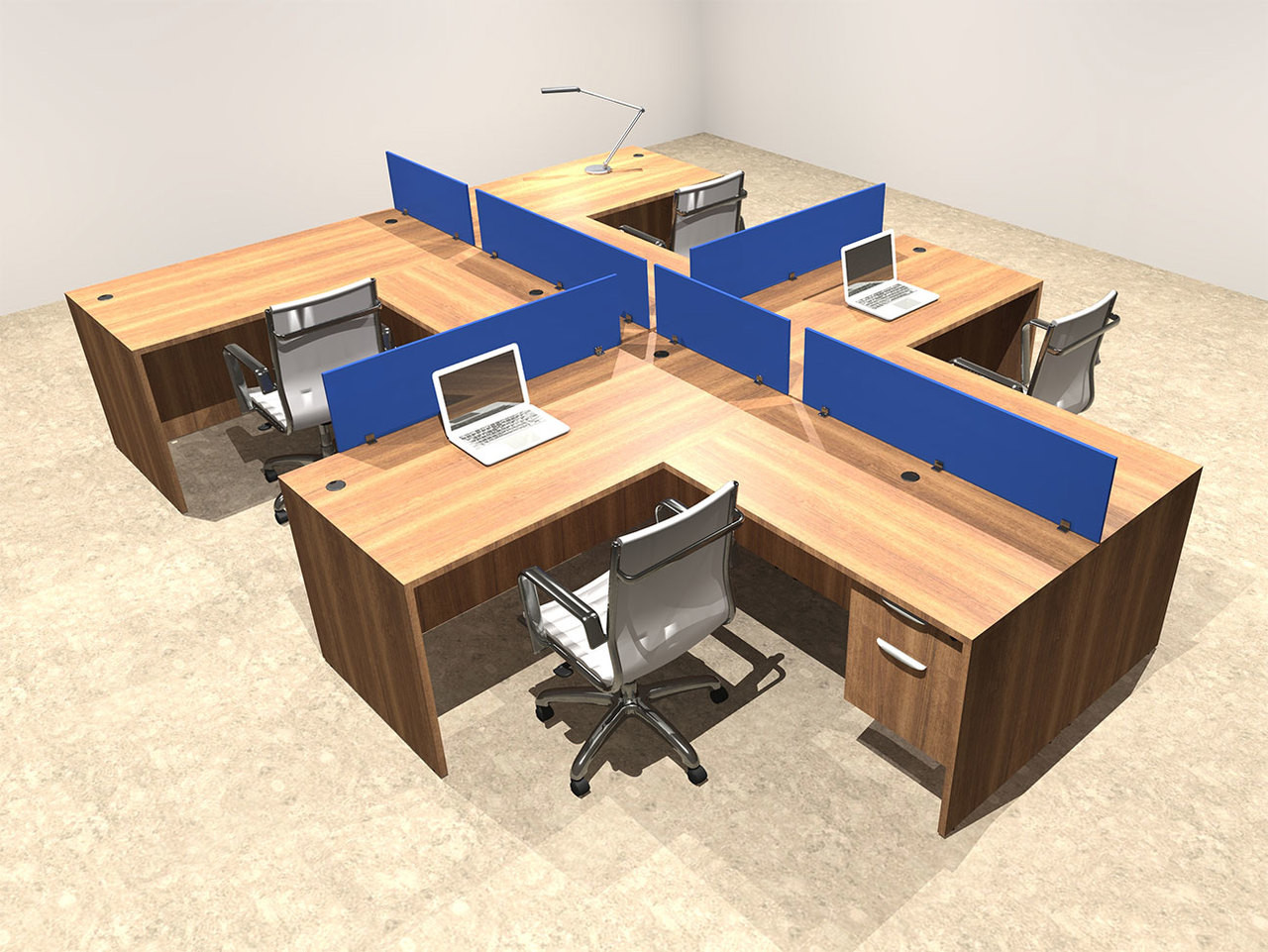 Four Person Blue Divider Office Workstation Desk Set, #OT-SUL-SPB57