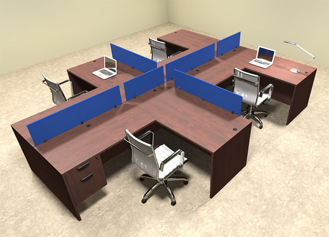 Four Person Blue Divider Office Workstation Desk Set, #OT-SUL-SPB58