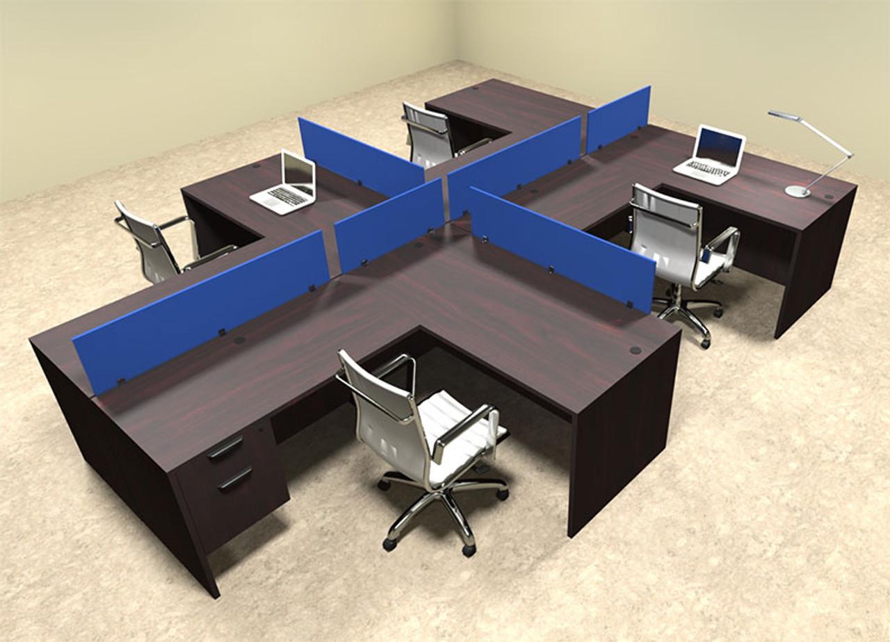 Four Person Blue Divider Office Workstation Desk Set, #OT-SUL-SPB59