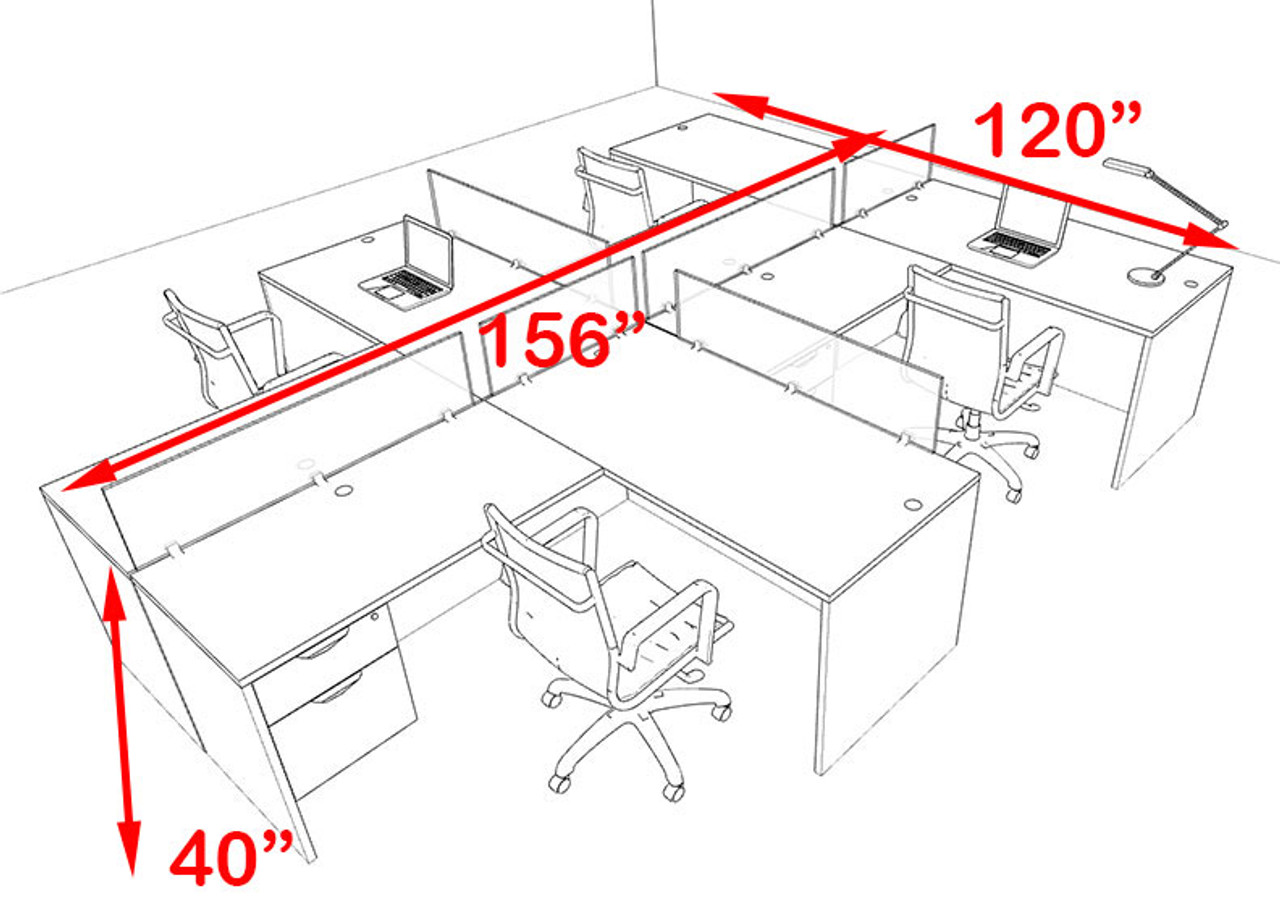 Four Person Blue Divider Office Workstation Desk Set, #OT-SUL-SPB60