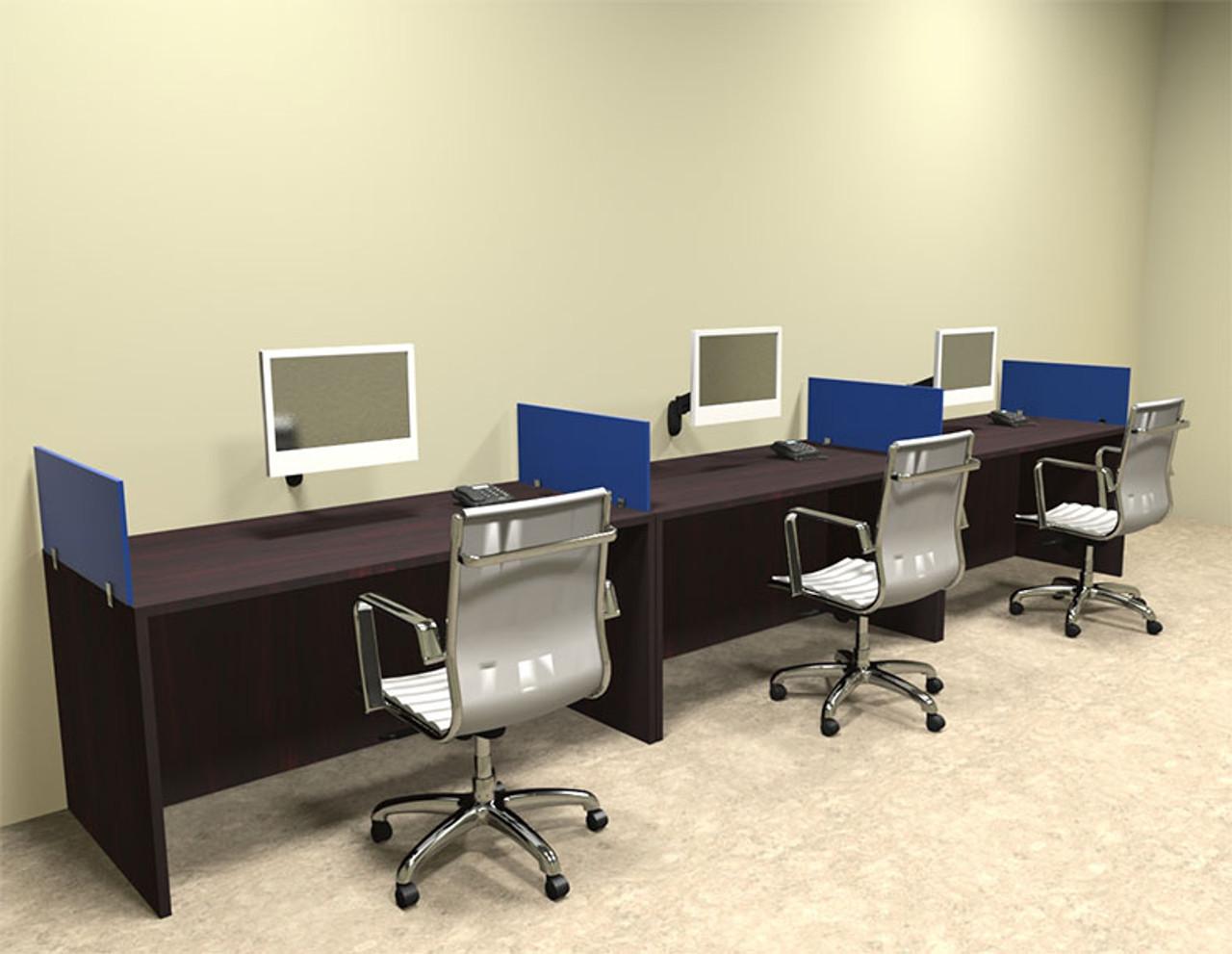 Three Person Blue Divider Office Workstation Desk Set, #OT-SUL-SPB7
