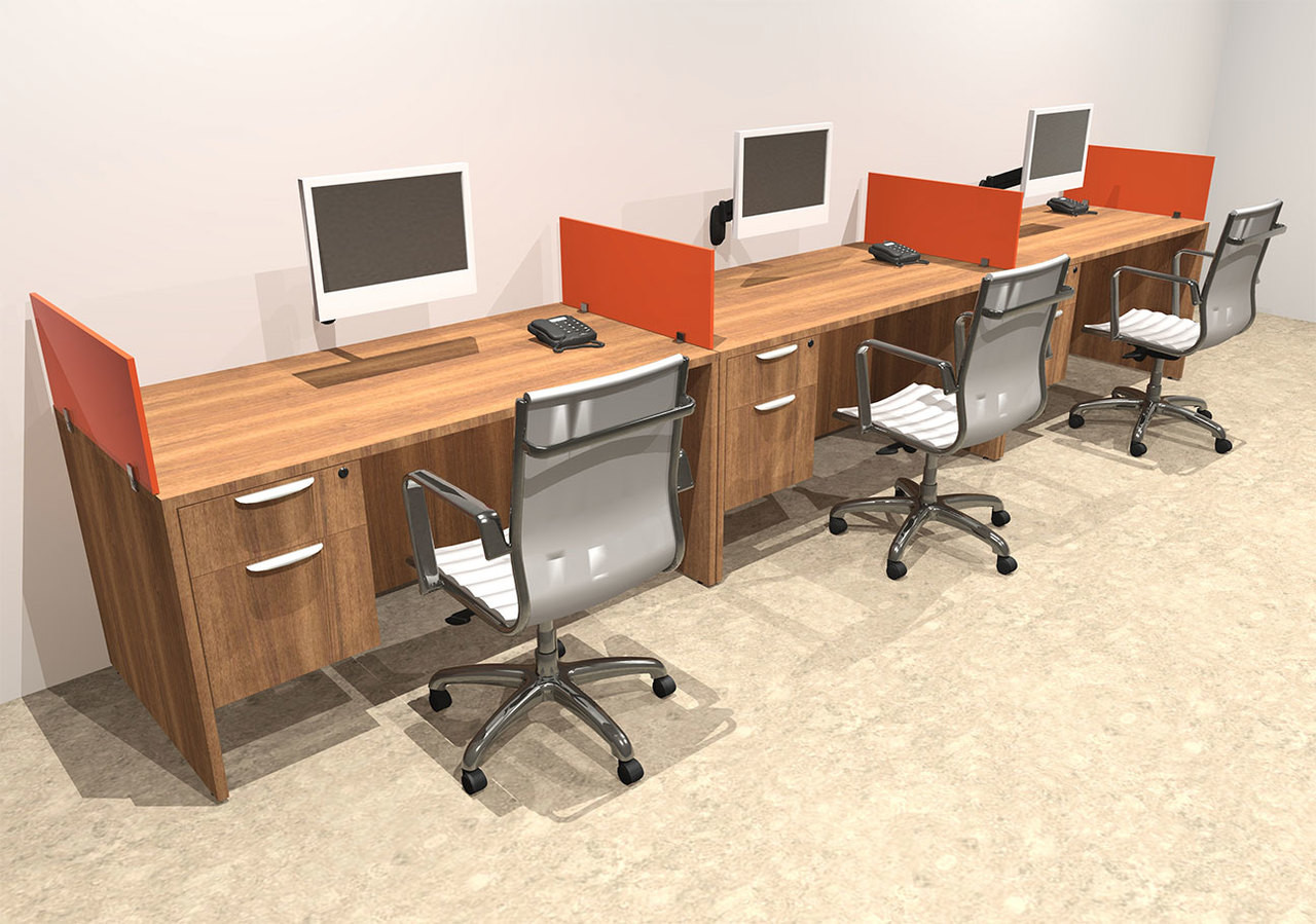 Three Person Orange Divider Office Workstation Desk Set, #OT-SUL-SPO25