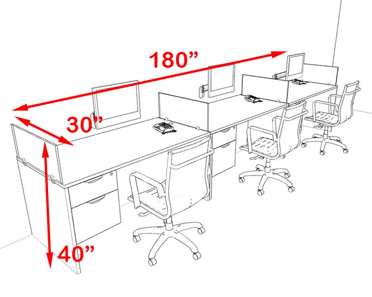 Three Person Orange Divider Office Workstation Desk Set, #OT-SUL-SPO28