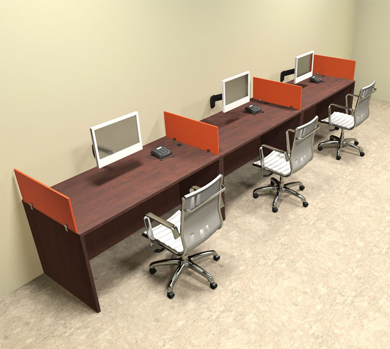 Three Person Orange Divider Office Workstation Desk Set, #OT-SUL-SPO6