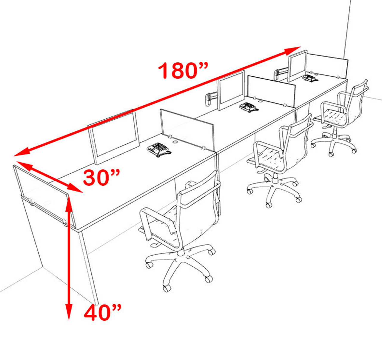 Three Person Orange Divider Office Workstation Desk Set, #OT-SUL-SPO8