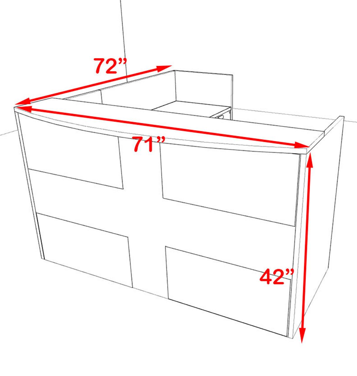 3pc L Shaped Modern Acrylic Panel Office Reception Desk, #OT-SUL-R24