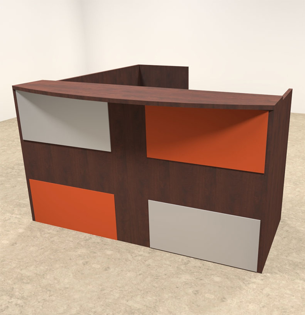 3pc L Shaped Modern Acrylic Panel Office Reception Desk, #OT-SUL-RM46