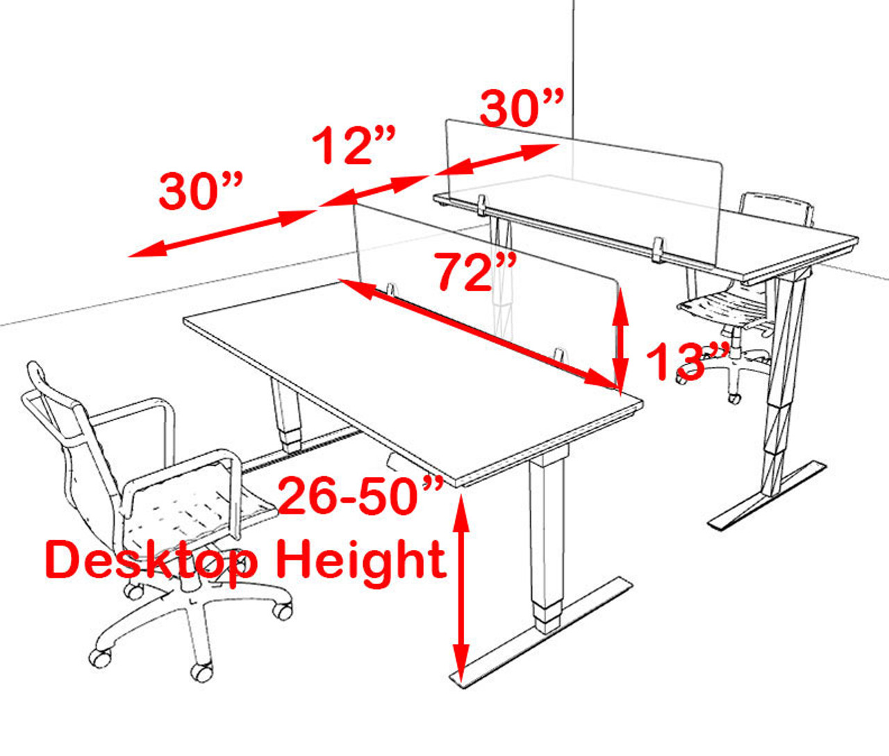 Two Persons Modern Power Adjustable Divider Workstation, #OF-CON-HP1