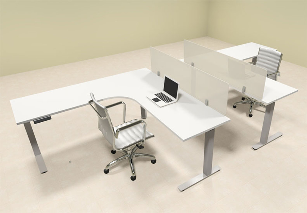 Two Persons L Shaped Power Adjustable Divider Workstation, #OF-CON-HP25