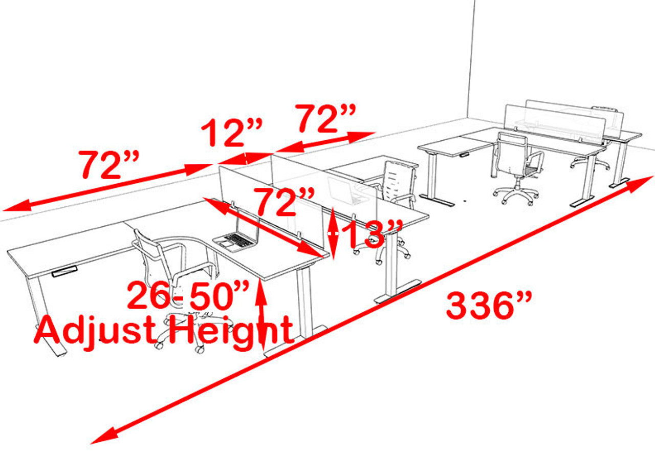 Four Persons L Shaped Power Adjustable Divider Workstation, #OF-CON-HP38