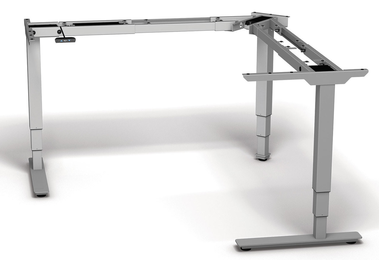 Four Persons L Shaped Power Adjustable Divider Workstation, #OF-CON-HP43