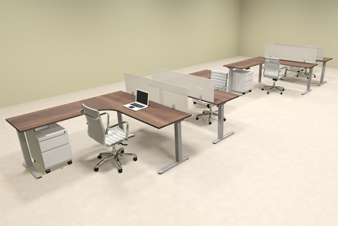 Four Persons L Shaped Power Adjustable Divider Workstation, #OF-CON-HP46