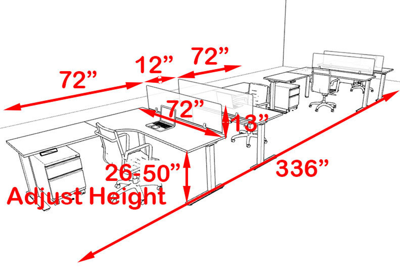 Four Persons L Shaped Power Adjustable Divider Workstation, #OF-CON-HP47