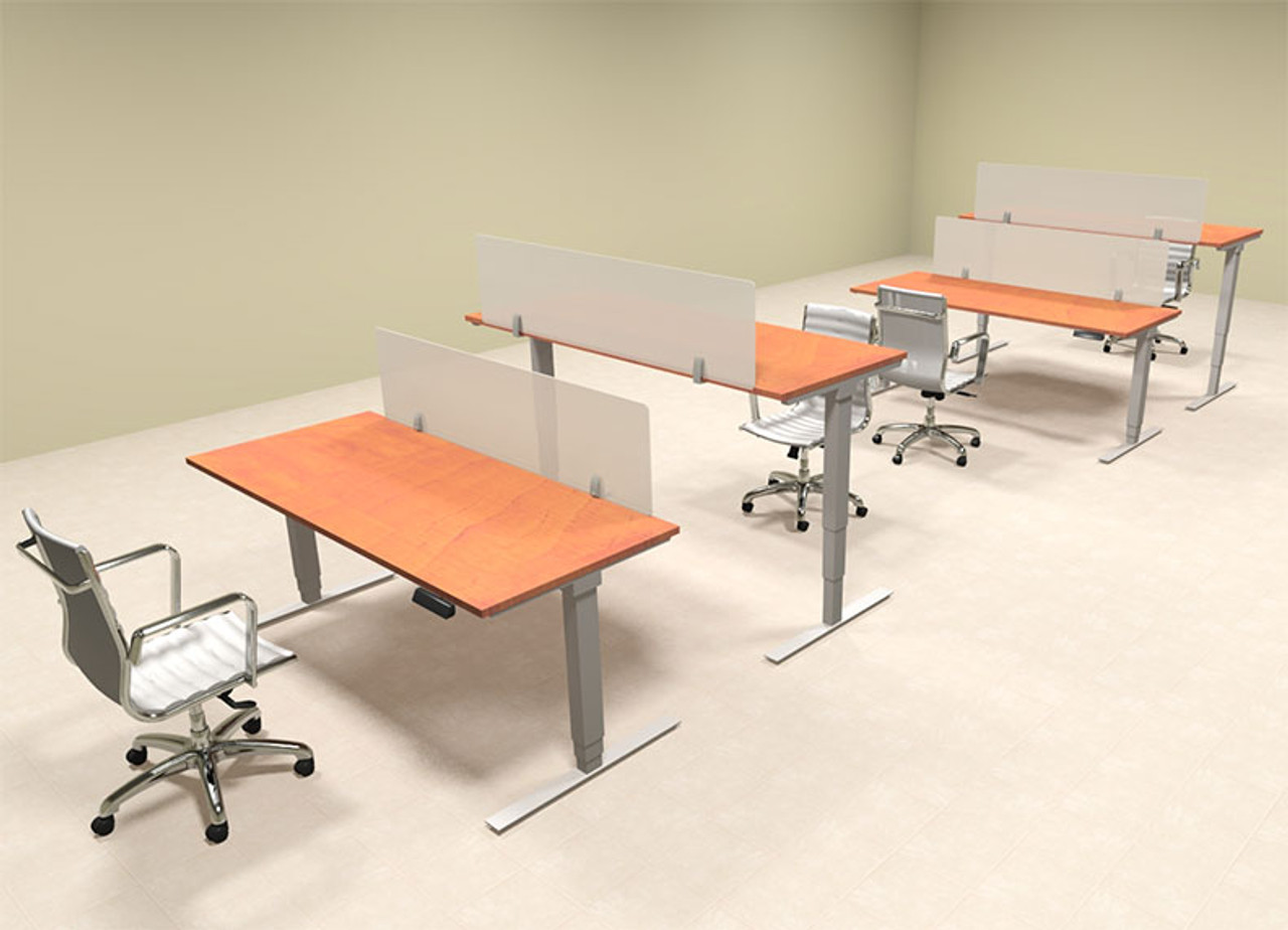 Four Persons Modern Power Adjustable Divider Workstation, #OF-CON-HP8