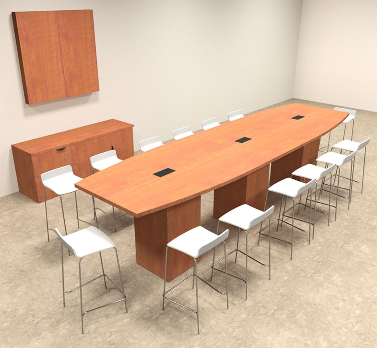 Boat Shape Counter Height 14' Feet Conference Table, #OF-CON-CT14