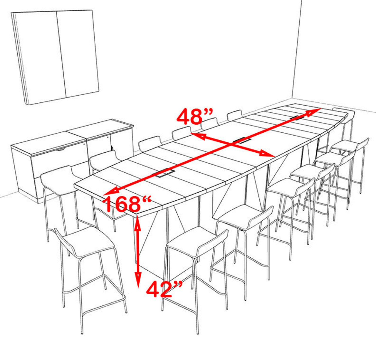 Boat Shape Counter Height 14' Feet Conference Table, #OF-CON-CT18