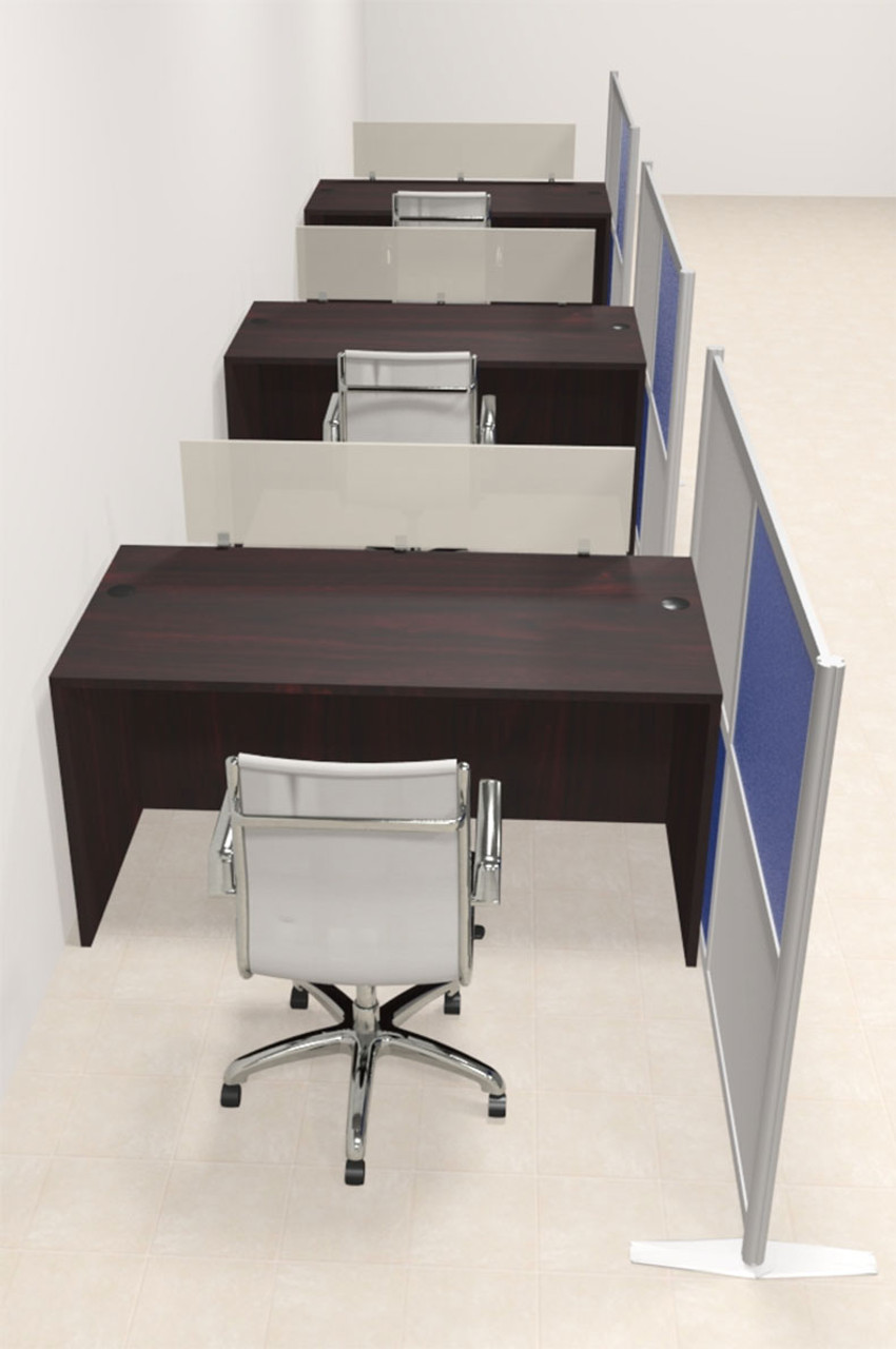 Three Person Workstation w/Acrylic Aluminum Privacy Panel, #OT-SUL-HPB11